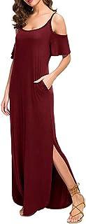 Women Casual Loose Long Dress Strapless Strap Cold Shoulder Split Maxi Dresses (Size:S, Red)