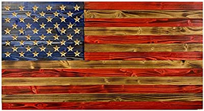 Rustic Handmade Wood American Flag, Made of Natural Pine Wood in The USA, Indoor/Outdoor Hand-Torched Patriotic Wall Art 19.5 X 37 X 1.5 in, Patriotic Wall Décor Ideal for Office & Home Decoration