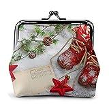 JHGFG Snow Red Christmas Shoes PU Cuero Exquisito Hebilla monederos Vintage Bolsa clásica Kiss-Lock Cambio Monedero Carteras Regalo