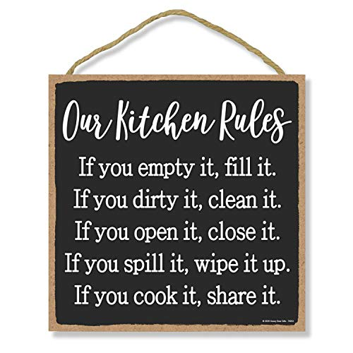 Honey Dew Gifts Hanging Wooden Signs, Our Kitchen Rules, 10 inch by 10 inch Hanging Wooden Sign, Decorative Wall Art, Housewarming Gifts, Home Decor