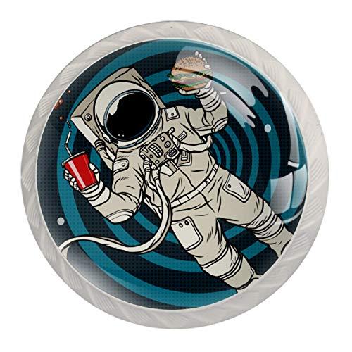 Tirador de perilla de cajón de 4 piezas Astronauta espacial divertido Tiradores coloridos del gabinete de cristal con los tornillos para la oficina en casa 3.5x2.8cm