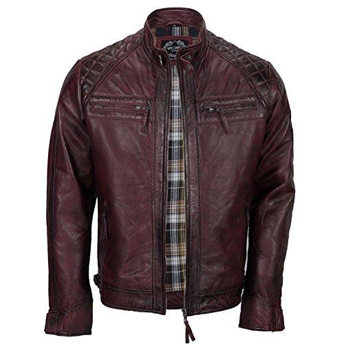 Xposed - Giacca da uomo con cerniera, in vera pelle morbida, stile motociclista, vintage, alla moda, casual, colore: nero Borgogna M