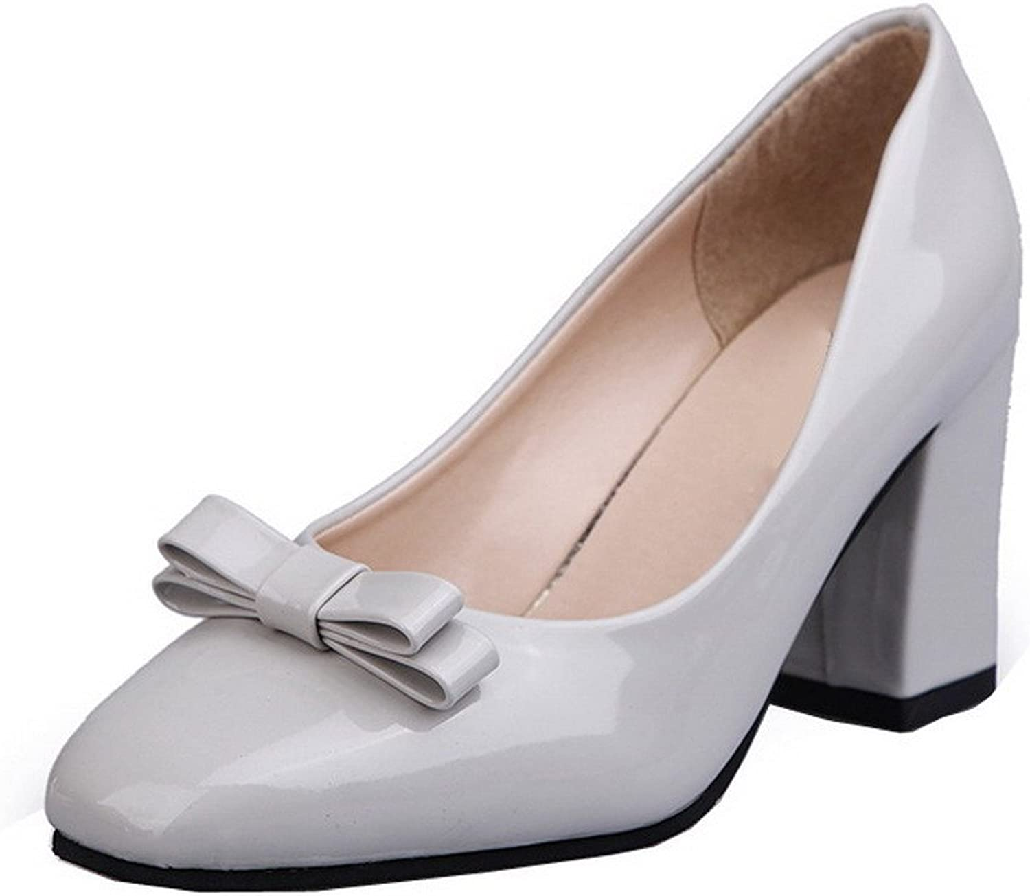 AllhqFashion Women's PU Pull-On Closed-Toe High-Heels Solid Pumps-shoes
