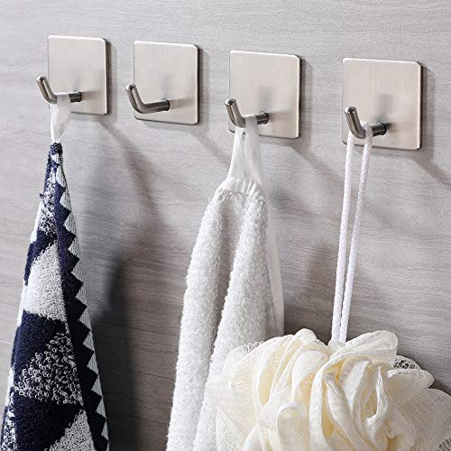 JS Self Adhesive Hooks, Stick on Hooks Holder for Tea Towel Robe Coat Kitchen Bathrooms,Stainless Steel Sticky Wall Hooks,Waterproof and Rustproof, 4 Pack