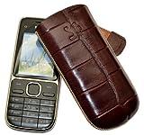 Original Suncase Tasche für / Nokia 130 / Leder Etui Handytasche Ledertasche Schutzhülle Hülle Hülle - Lasche mit Rückzugfunktion* In Croco-Braun