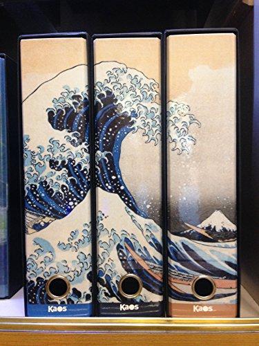 KAOS Set da 3 raccoglitori ad anelli dorso 8 La grande onda di Kanagawa, Hokusai - Misure Set: 26x34x29 cm