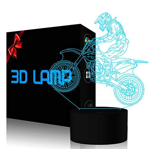Neuheit 3D Illusion Lampen mtb Motocross Fahrrad LED Nachtlichter USB 7 Farben Sensor Schreibtischlampe für Outdoor Sports Liebhaber Sammlung Geschenke