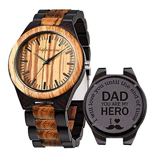 Holzuhren für Männer, Shifenmei Holzuhren natürliche handgemachte Analog Quarz japanische Uhrwerk und Batterie verstellbar Holz Armband leichte Holzuhren mit Exquisite Box (Zebra Ebony-Dad)