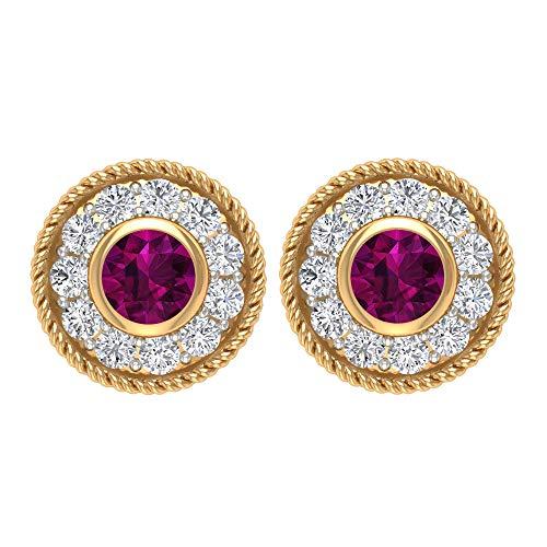 Pendientes de cuerda, pendientes de halo de oro, piedras preciosas redondas de 1/3 quilates, diamante HI-SI 2,50 mm rodolita, pendientes de filigrana de diseño, 14K Oro amarillo, Par