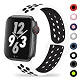 TIMTU Compatible with Apple Watch Band 44mm 42mm, for Women Men, Silicone Sport Band Compatible with iWatch Series 3, Series 4, Series 2, Series 1, M/L White/Black