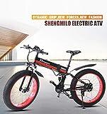 Shengmilo MX01 Freno a Disco Idraulico da Mountain Bike Elettrico da 1000W con Batteria da 21Speeds...