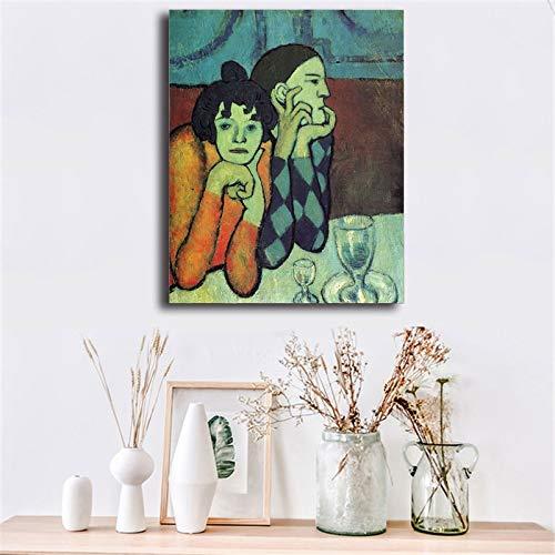 wojinbao kein Rahmen Pablo Picasso Harlekin und Sein Begleiter Leinwand Poster drucken Wandbild Kunst Ölgemälde Dekorationsmalerei Moderne Wohndekoration 40x60cm
