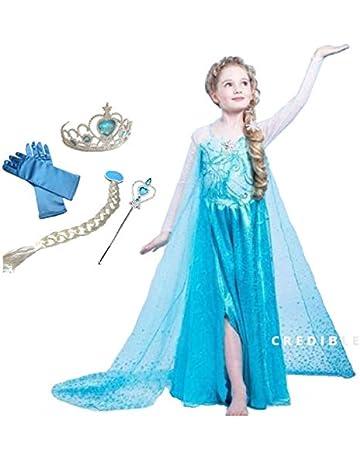3c07ba8b79024 CREDIBLE 子供 用 プリンセス ドレス コスチューム 豪華6点セット ・アイスブルー ( プリンセスドレス