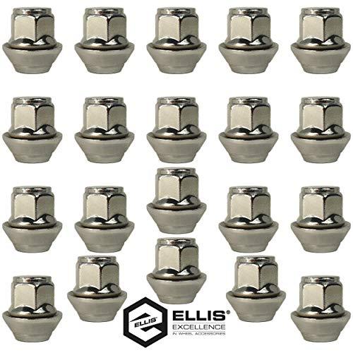 Juego de tuercas de aleación M12 x 1,5, arandela cónica, 19 mm hexagonal para uso con llantas de aleación Ford y más (20)