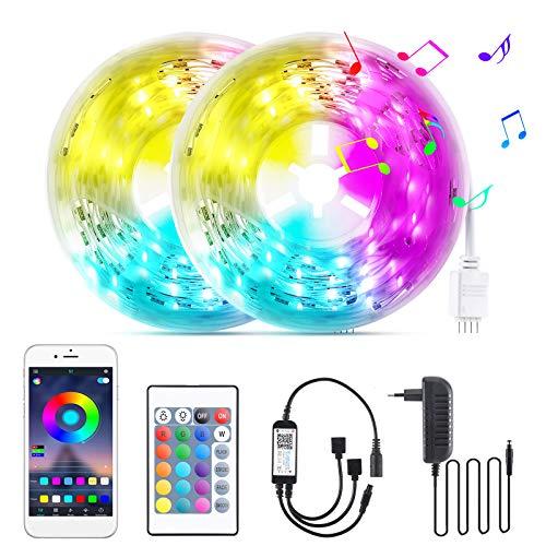 LED Strip 10m, WiFi RGB LED Light Streifen mit Fernbedienung, Farbwechsel SMD 5050 Leds sync zur Musik, patibel mit Alexa APP Steuerbar, Anwendung für Schlafzimmer, Party und Feriendekoration (2 X 5m)