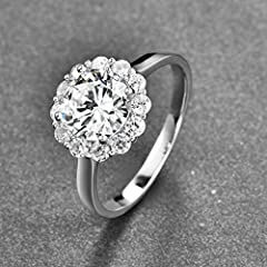 Bonlavie Women's 925 Sterling Silver 3.5ct Brillant Solitaire Round Cut White Cubic Zirconia Engagement Wedding Promise Ring for Girlfriend Lover (S 1/2) #2