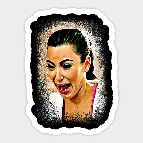 Kim Kardashian Ugly Cry Face Funny Meme Vinyl Decal Sticker for Laptop Bumper Set of 2