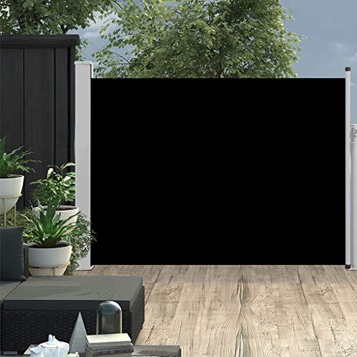 Festnight Auvent Rétractable de Balcon Store Latéral de Patio ou Terrasse Paravent Rétractable Extérieur 120x500 cm Noir