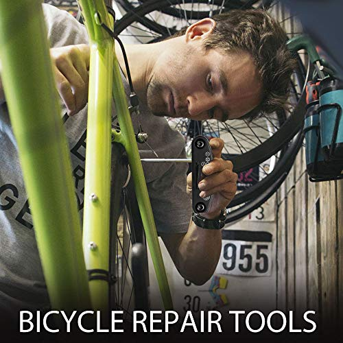 Fahrrad-Multitool, Migimi 16 in 1 Werkzeuge für Fahrrad Reparatur Set Multifunktionswerkzeug Reparatur Fahrradwerkzeug Tool, Werkzeugset Fahrrad mit Tasche, Selbstklebendes Fahrradflicken usw - 6