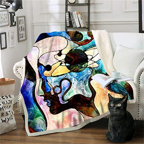 Manta con Estampado Pintura Abstracta Acogedora De Felpa Sherpa De Cálida Manta para Niños Y Adultos 130 X 150 cm