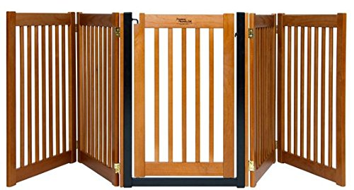 Dynamic Accents Amish Handcrafted 32'' Highlander 5 Panel Free Standing Wood Pet Gate- Artisan Bronze