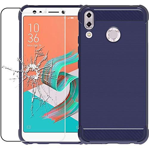 ebestStar - kompatibel mit Asus Zenfone Max M1 Hülle ZB555KL Kohlenstoff Design Schutzhülle, TPU Handyhülle Flex Silikon Case, Dunkelblau + Panzerglas Schutzfolie [Phone: 147.3 x 70.9 x 8.7mm, 5.5'']