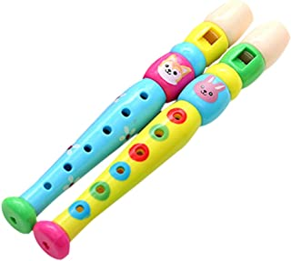 STOBOK 2pcs Small Wooden Recorders Colorful Piccolo Flute for Kids Learning Rhythm Musical Instrument Education Music Soun...