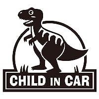 imoninn CHILD in car ステッカー 【パッケージ版】 No.71 ティラノサウルスさん (黒色)