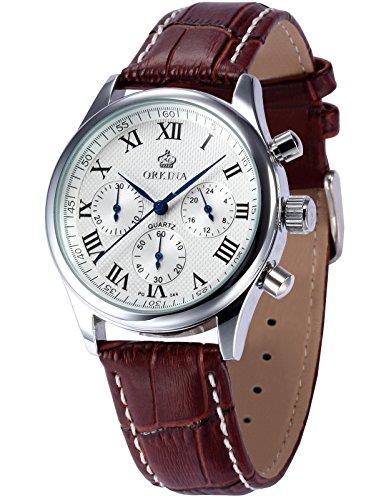 ORKINA Chronograph Genuine Coffee Leather Japan Movement Mens Quartz Watch ORK150