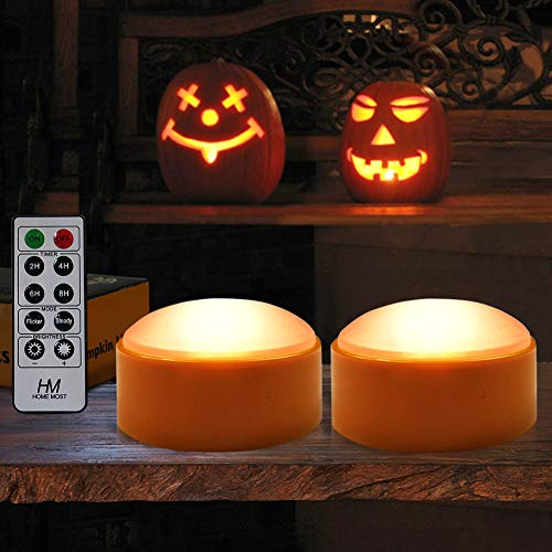 HOME MOST 2-PACK Halloween Pumpkin Lights with Remote / Timer - Orange...