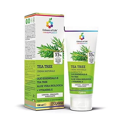 Colours of Life Skin Supplement Tea Tree - Crema naturale ad azione purificante - con Aloe vera biologica e Vitamina E - Utile per punture d'insetto, acne, foruncoli - Formato 100 ml
