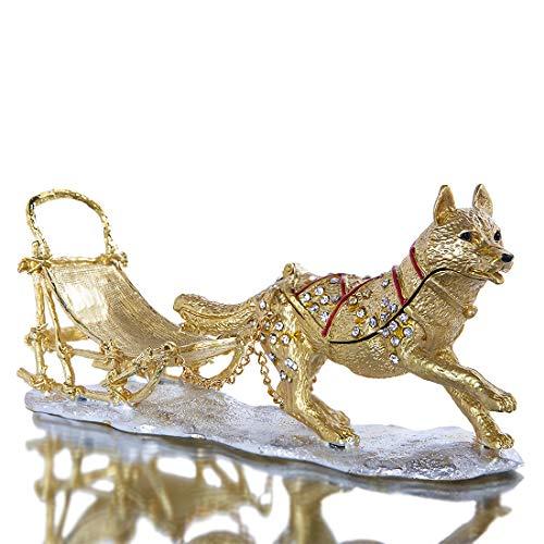 Sled Dog Figurine Trinket Boxes Hinged Collectible Crystals Jeweled Enameled Wolf Animal Jewelry Ring Holder Box