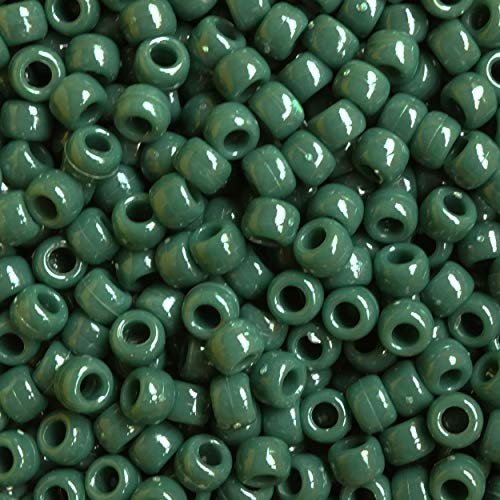Forest Green Crow Beads Pony Beads Made in USA 6x9mm