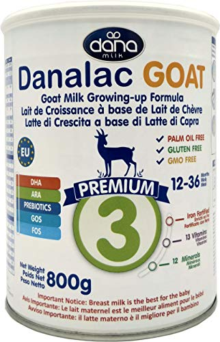 Danalac PREMIUM Lait de croissance pour bébé à base de lait de Chèvre 3ème âge - pour jeunes enfants et nourrissons de 1 à 3 ans - Formule EU-2020 800 g