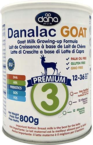 DANALAC Latte di Crescita a Base di Latte di Capra (Fase 3   800g) in Polvere per Bambini da 1 a 3 Anni