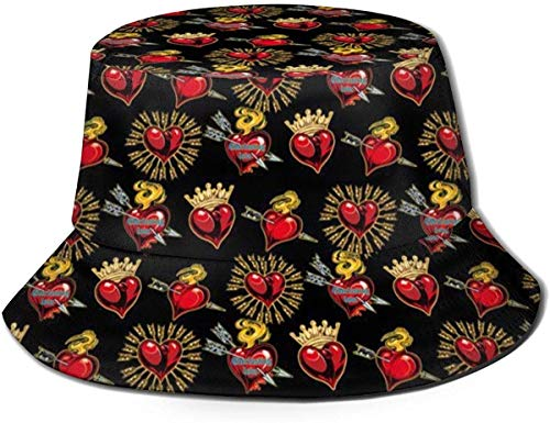 BONRI Sombreros de Cubo Transpirables con Parte Superior Plana Unisex Mejor Madre Conejo Sombrero de Cubo Sombrero de Pescador de Verano-Flecha de Amores-Talla única