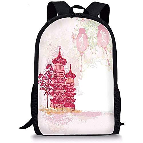 Hui-Shop Schultaschen Laterne, antiker chinesischer Tempel mit Laternen und asiatischer Landschaftspagode im Vintage-Stil Pink Soft Pink für Jungen Mädchen