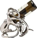 Kare Design Octopus Portabottiglie, Alluminio Nichelato/Argento, 24.25x16.5x20.5cm