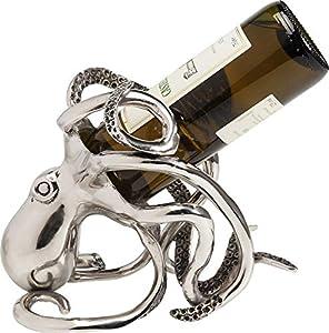 Kare Design Flaschenhalter Octopus, Aluminium vernickelt, Silber