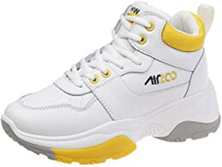HXSD High-top Sneakers, Women's Wild Old Shoes, Thick Women's Shoes, Running Casual Shoes (Color : Yellow, Size : 38EU)