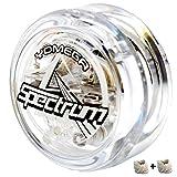 Yomega Spectrum: Fireball Transaxle YoYo、中級、上級、プロレベル用、予備用ストリングス2本入り、3か月の保証付き、LEDライト内蔵 (クリア)
