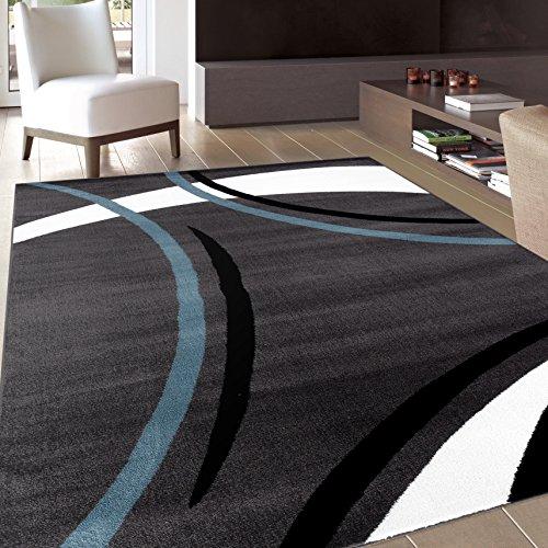 Rug Decor Contemporary Modern Wavy Circles Area Rug, 33u0022 by 5 3u0022, Grey