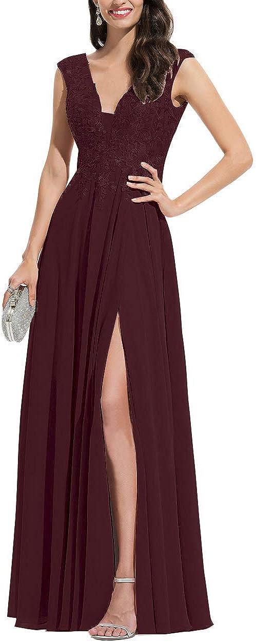 MYDRESS V Neck Appliques Bridesmaid Dresses Lace Chiffon Slit Formal Dress Long A Line