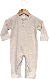 Laughing Giraffe Baby Long Sleeve Henley Long Johns Jumpsuit -(Oatmeal 12-18 Months)