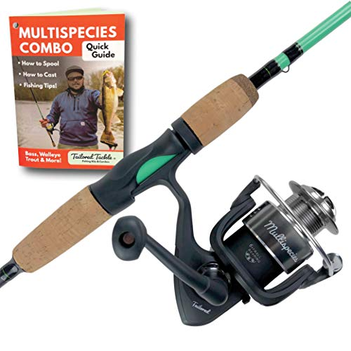 Tailored Tackle Universal Multispecies Rod and Reel Combo Fishing Pole | Freshwater & Inshore Saltwater | Poles 6 Ft 6 in Rods Medium Fast Action | Spinning Reels 7BB | Combos L & R Handed