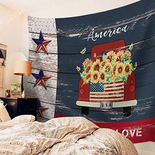 Tapiz para colgar en la pared, decoración de camión rojo, tapiz impreso, tapiz de pared para niños, niñas, niños, habitación, dormitorio, sala de estar, dormitorio, girasoles independientes, granja