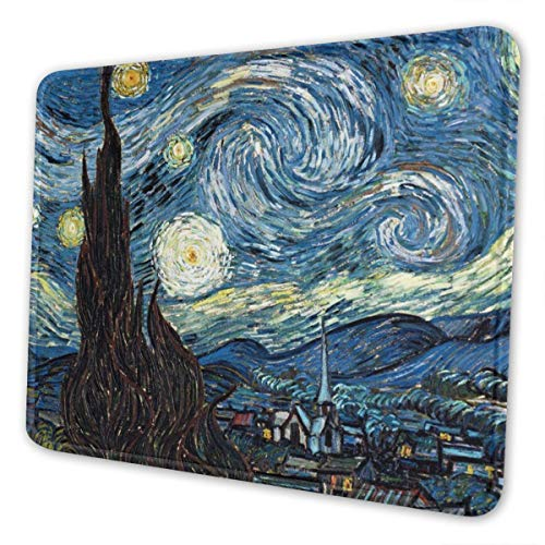 Mouse Pad Van Gogh The Starry Night Gaming Mat Customized Non-Slip Rubber Base Stitched Edges for Office Laptop Computer