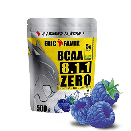 BCAA 8.1.1 Zero Vegan | Performance & Ultra Endurance - Conçu Pour Développement & Entretien Musculaire | Formule Unique | 500 gr - Laboratoire Français Eric Favre (Blue raspberry)