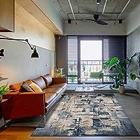 長方形のカーペット、ホームカーペット水彩暗い青いセメントのカーペットの滑り止めジムプレイのマットの家の装飾の汚れの抵抗力のある床のカーペット,Dark blue,45X75cm