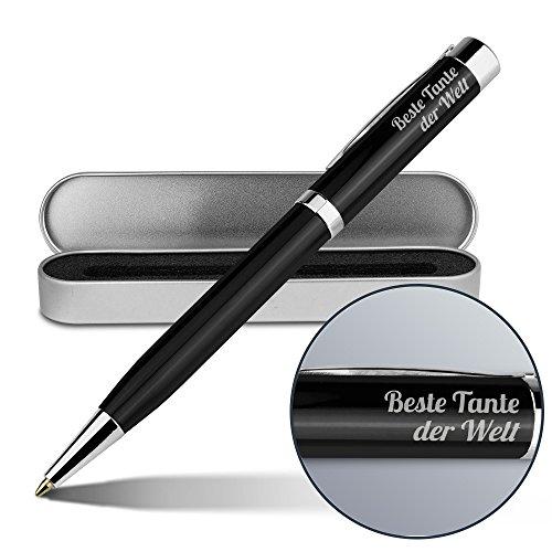 Kugelschreiber mit Namen Beste Tante der Welt - Gravierter Metall-Kugelschreiber von Ritter inkl. Metall-Geschenkdose